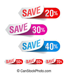 Vector illustration of discount labels