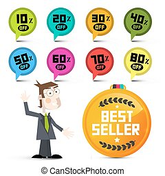 Discount Labels. Vector Sale Labels. Circle Colorful Icons with Businessman and Best Seller Medal.