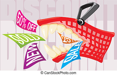 discount - mad shopping basket - end of season sale, special...