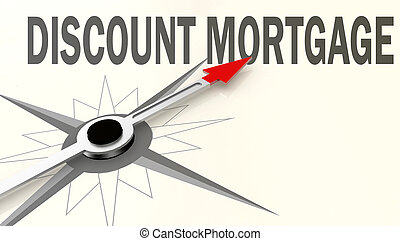 Discount mortgage word on compass with red arrow
