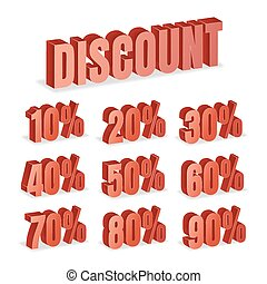 Discount Numbers 3d Vector. Red Sale Percentage Icon Set In 3D Style Isolated On White Background.