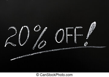 Discount of 20% off - 20% off discount written in chalk on a...