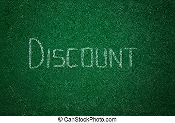 Discount on green chalkboard
