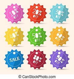 Discount Paper Colorful Vector Labels Sale Set