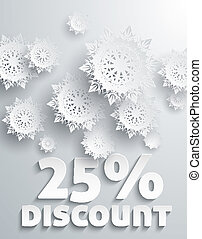 Discount percent - Discount Percent with Snowflake on White