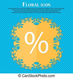 Discount percent sign icon. Modern interface website button. Floral flat design on a blue abstract background with place for your text. Vector