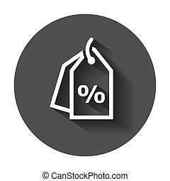 Discount percent tag icon in flat style. Price sale illustration with long shadow. Promotion coupon concept.