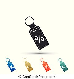 Discount percent tag icon isolated on white background. Shopping tag sign. Special offer sign. Discount coupons symbol. Set elements in colored icons. Flat design. Vector Illustration