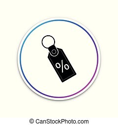 Discount percent tag icon isolated on white background. Shopping tag sign. Special offer sign. Discount coupons symbol. Circle white button. Vector Illustration