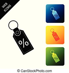 Discount percent tag icon isolated. Shopping tag sign. Special offer sign. Discount coupons symbol. Set icons colorful square buttons. Vector Illustration