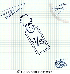 Discount percent tag line sketch icon isolated on white background. Shopping tag sign. Special offer sign. Discount coupons symbol. Vector Illustration