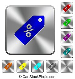 Discount price label rounded square steel buttons