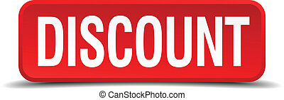 Discount red 3d square button isolated on white background