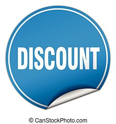 discount round blue sticker isolated on white