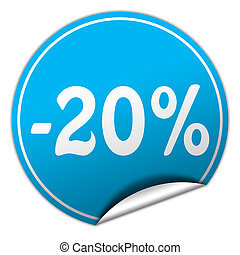 discount round blue sticker on white background