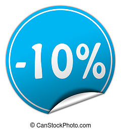 discount round blue sticker on white background