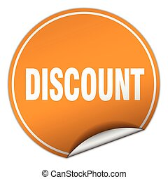 discount round orange sticker isolated on white