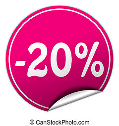 discount round pink sticker on white background