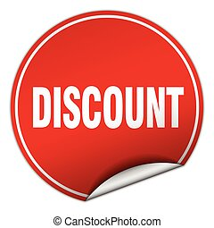 discount round red sticker isolated on white