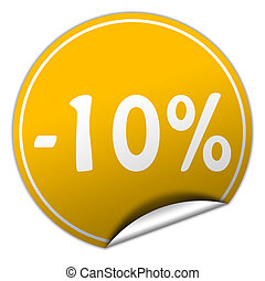 discount round yellow sticker on white background