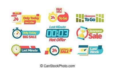 Discount sale offer. Discount coupon last week only today sale last minute best price throughout the day to go color web store presentation, promotion advertising shopping. Banners vector graphics.