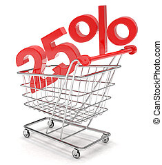 discount shopping cart on white background.