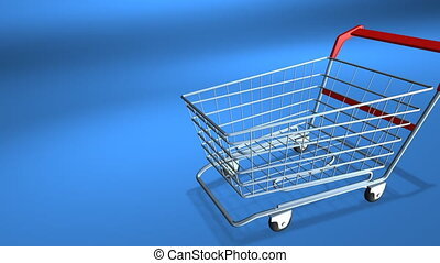 Discount - Shopping cart with falling percent signs. Concept...