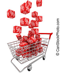 Discount - Shopping cart with red cubes