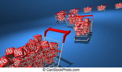 Shopping carts with red cubes. Concept of discount