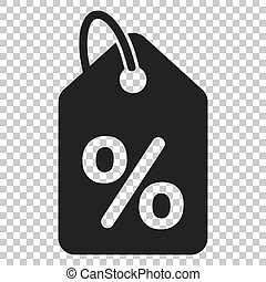 Discount shopping tag icon in flat style. Discount percent coupon illustration on isolated transparent background. Shop badge business concept.