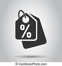 Discount shopping tag icon in flat style. Discount percent coupon illustration on white background. Shop badge business concept.