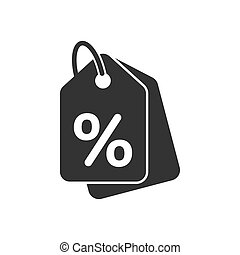 Discount shopping tag icon in flat style. Discount percent coupon illustration on white isolated background. Shop badge business concept.