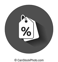 Discount shopping tag icon in flat style. Discount percent coupon illustration with long shadow. Shop badge business concept.
