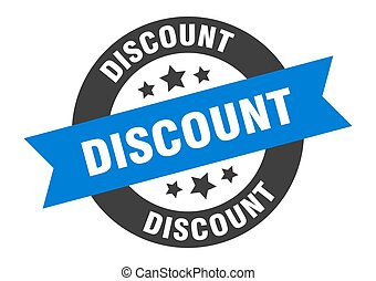 discount sign. discount blue-black round ribbon sticker