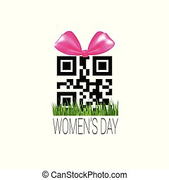 Discount Sign with Qr Code Template International Women Day Sale Sticker Promotion Badge