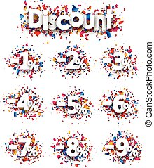 Discount signs paper set.