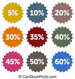 Discount Stars Set - Colorful discount star labels within a ...