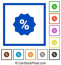 Discount sticker framed flat icons