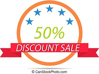 Discount sticker sale on white background .