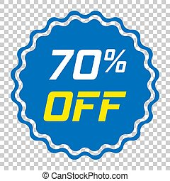 Discount sticker vector icon in flat style. Sale tag sign illustration on isolated transparent background. Promotion 70 percent discount concept.