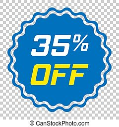 Discount sticker vector icon in flat style. Sale tag sign illustration on isolated transparent background. Promotion 35 percent discount concept.