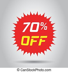 Discount sticker vector icon in flat style. Sale tag sign illustration on white background. Promotion 70 percent discount concept.