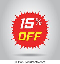 Discount sticker vector icon in flat style. Sale tag sign illustration on white background. Promotion 15 percent discount concept.