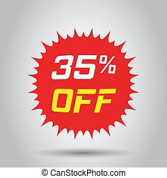 Discount sticker vector icon in flat style. Sale tag sign illustration on white background. Promotion 35 percent discount concept.