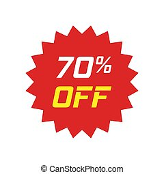 Discount sticker vector icon in flat style. Sale tag sign illustration on white isolated background. Promotion 70 percent discount concept.