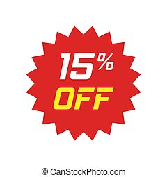 Discount sticker vector icon in flat style. Sale tag sign illustration on white isolated background. Promotion 15 percent discount concept.
