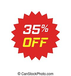 Discount sticker vector icon in flat style. Sale tag sign illustration on white isolated background. Promotion 35 percent discount concept.