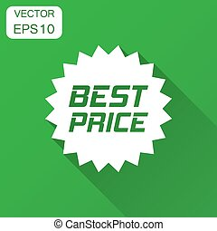 Discount sticker vector icon in flat style. Sale tag sign illustration with long shadow. Promotion best price discount concept.