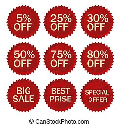 Discount stickers set. Vector