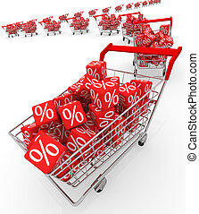 Discount - Shopping carts with red cubes